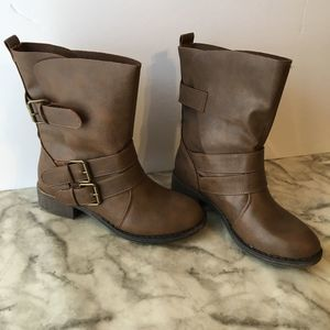 Brown Moto Boots